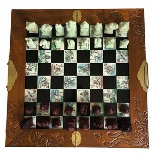 Vintage Asian Figural Chess Set Hand Carved Pieces